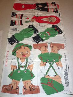 Vintage Fabric Panel Pinocchio Cricket Geppeto Dolls Toys Pillow Pattern | eBay