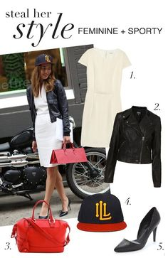 I don't like this combination but I like the concept...dress with leather jacket and cap