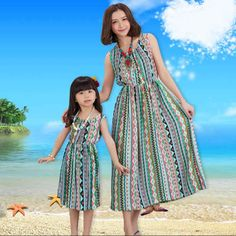 2017 SUMMER Mother Daughter Dresses Family Matching Outfits Bohemia Family Look Matching Clothes Mom And Daughter Beach Dress