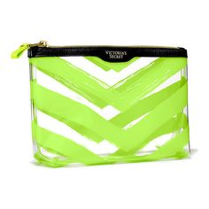 Victoria's Secret Large Beauty Bag ($24) ❤ liked on Polyvore featuring bags, handbags, green, victoria secret bag, victoria secret purse, pvc bag, see through purse and transparent bag
