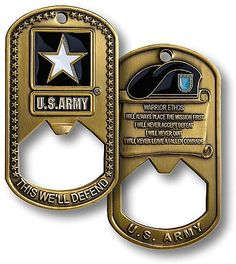 U.S. Army Dog Tag Bottle Opener Challenge Coin