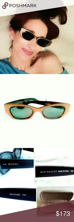 Gucci Retro Metallic Cat Eye Sunnies. RARE! Gorgeous Gucci Retro Metallic Cat Eye Sunnies. RARE FIND!  Geek Chic, heavy acetate frames in a bronze metallic finish with dark green/gray lenses. Comes  in Gucci case. Excellent preloved condition, with minor wear to the temple arms near the ear. Not noticeable when worn. Gucci Accessories Sunglasses
