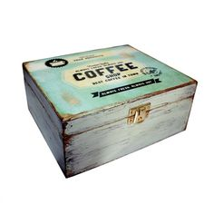 Items similar to Coffee - Tea Decoupage Box - Spring Green -Shabby Chic on Etsy Wooden Gifts, Wooden Diy, Handmade Wooden, Decoupage Box, Decoupage Vintage, Wood Crates, Wood Boxes, Altered Cigar Boxes, Coffee Box