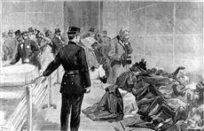 Incendie du Bazar de la Charité, à Paris, le 4 mai 1897. Reconnaissance des cadavres au Palais de l'Industrie. Gravure de F. Méaulle d'après un dessin de Tofani.  Le Petit Journal , 16 mai 1897.