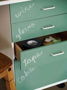 10 Garage Organization Ideas and tips perfect for summer! great idea! Paint cupboard doors with chalkboard paint.