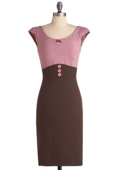 Raspberry Mocha Dress, #ModCloth    Pink and Brown are so pretty together...and I'm not big on pink!!!