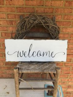 Welcome sign for front door porch decor by WoodfairySigns on Etsy                                                                                                                                                                                 More