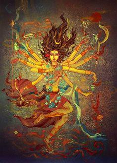 Kala Ksetram — Shakti by Tanushree Gosh Durga Painting, Kerala Mural Painting, Indian Art Paintings, Painting Art, Painting Tips, Shiva Hindu, Shiva Art, Kali Goddess, Goddess Art