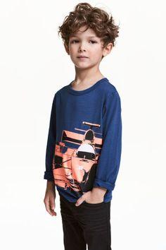 Long-sleeved T-shirt - Dark blue/Car - Kids | H&M GB 1