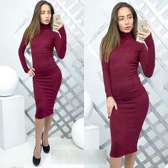 Simple Fashion High Neck Long Sleeve Bodycon Knee-length Dress