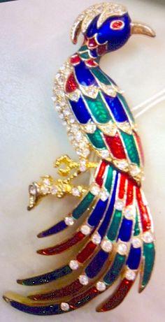 Enameled peacock, American Costume Jewelry from 80s - Pavone-smaltato, bigiotteria americana anni 80. vintageantico.com