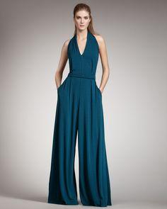 Halston Heritage Belted Halter Jumpsuit in Blue (dark teal)   Lyst