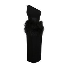Carolyne Roehm Iconic Black Evening Gown with Ostrich Feathers | From a collection of rare vintage evening dresses at https://www.1stdibs.com/fashion/clothing/evening-dresses/
