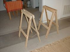 The Postmodern Polymath: Build It Yourself: Folding Sawhorses Folding Sawhorse, Carpentry Tools, Postmodernism, Table Legs, Own Home, Bar Stools, Diy Projects, Woodworking, Backyard