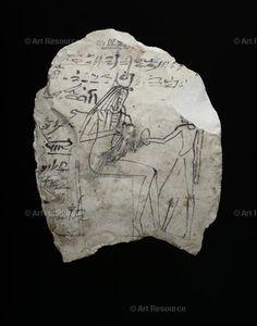Рененутет кормит грудью сына Непри, остракон, Фивы, XIX династия, около 1292-1190 до н.э., Оксфорд, музей Ашмола