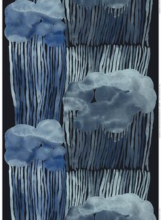 The trendy Jussarö fabric comes from Marimekko and is designed by Aino-Maija Metsola. The fabric has a lovely design with rolling storm clouds in blue colors. Use the fabric as curtains and combine it with other fine products from Marimekko. Design Textile, Art Textile, Art Design, Fabric Design, Pattern Design, Illustration Main, Azul Indigo, Motifs Textiles, Marimekko Fabric