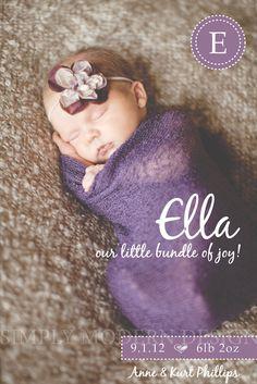 modern newborn birth announcement, PRINTABLE. $14.50, via Etsy.
