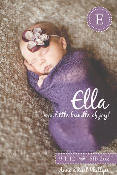 modern newborn birth announcement, PRINTABLE. $14.50, via Etsy.