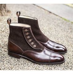 Handmade Mens Brown Button Boots, Men Brown Ankle Boots, Men Leather Boot - Boots