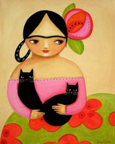 Tascha Diego Rivera, Black Cat Images, Frida Art, Betty Boop Pictures, Acrylic Painting Tutorials, Cat People, Naive Art, Whimsical Art, Cat Art