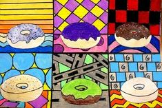 Wayne Thiebaud Donut Pictures | Art History Lessons | Great way to get students using color, shape, and patterns to create a tasty treat.