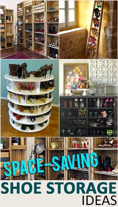 Space Saving Shoe Storage and Organization Ideas - Cleaning Hacks Organisation Hacks, Diy Storage, Storage Organization, Storage Ideas, Organization Ideas For Shoes, Shoe Storage Hacks, Bedroom Storage, Storage Solutions, Shoe Rack Space Saver