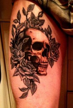 Skull and roses tattoo by Slabzzz.deviantart.com on @deviantART
