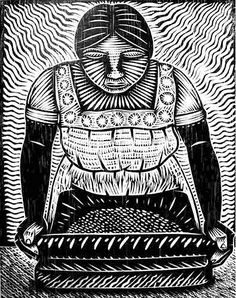 Artwork by Alec Dempster El Metate Linocut Prints, Art Prints, Arte Punk, Lino Art, Mexico Culture, Mexico Art, Mexican Artists, Guache, Tampons
