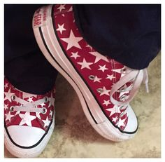 Love my Coverse All Stars  Red with white stars ⭐️⭐️⭐️