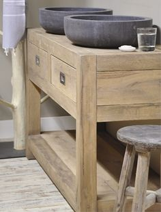 Belgian bluestone wash basins on a rustic pine dresser - villa d'esta