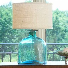 Check out Apothecary Glass Jug Table Lamp - French Wired from Shades of Light Beach House Lighting, Glass Jug, Glass Table, Sea Glass Colors, Rustic Lamps, Farmhouse Lamps, I Love Lamp, Table Lamp Shades, Turquoise Glass