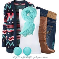 Love this! Denim, leather boots, white tee & sweater. wonderful teal accents...