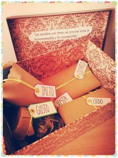Caja regalo de los cinco sentidos #regalos #originales                                                                                                                                                      Más