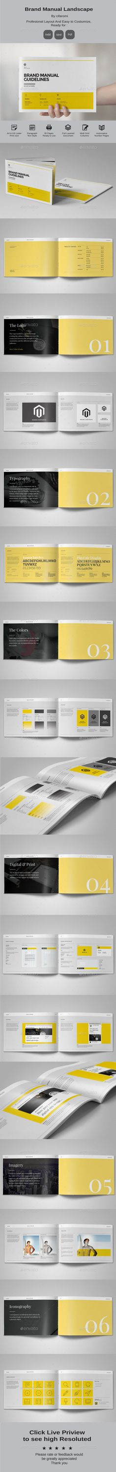 Minimal and Professional Brand Manual Landscape Brochure Template InDesign INDD #design Download: http://graphicriver.net/item/brand-manual-landscape/14366298?ref=ksioks
