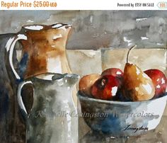 watercolor painting watercolor still life Pear Apple print Blue art print kitchen art wall home decor Large art PRINT 11x14 Food artwork red by rachellelevingston on Etsy https://www.etsy.com/listing/53859220/watercolor-painting-watercolor-still