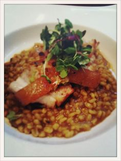 Crispy pork belly with curry risotto