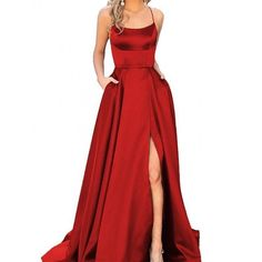 A-Line Red Prom Dresses Satin Fashion Dress Cheap 2019 Evening Dress Long Party Gowns - Prom dresses/hoco dresses - Everything is Here Prom Dresses With Pockets, Straps Prom Dresses, Cheap Prom Dresses, Homecoming Dresses, Dresses Dresses, Red Satin Prom Dress, Long Dresses, Dress Red, Dance Dresses
