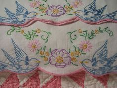 so charmingly vintage - over 1,000 pins   /lace854/embroidery/     BACK    PILLOWCASES