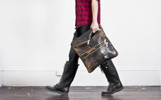 BLACK CRACKLE MAILBAG CLUTCH by Ampersand As Apostrophe  made from 100 yr old English Mailbags