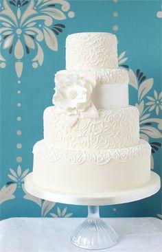 Lace Wedding Cake - Ivory & Rose Cake Company