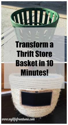 DIY: Transform a Thrift Store Basket with Sisal Rope!  Simple and Easy project which upcycles those old baskets and into new treasures! | 10 Minute project by www.mylifefromhome.com