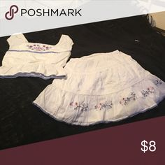 Girl skirt and matching top set White  with lining under skirt and designs around skirt it is 100% Cotton Like new. Genuine kds Other