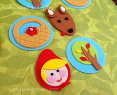 POCO Red RIDING HOOD Fondant Cupcake Toppers
