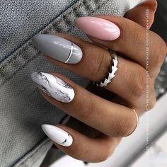Almond Acrylic Nails, Summer Acrylic Nails, Best Acrylic Nails, Summer Nails, Manicure Nail Designs, Nail Manicure, Gel Nails, Manicure Ideas, Nail Ideas