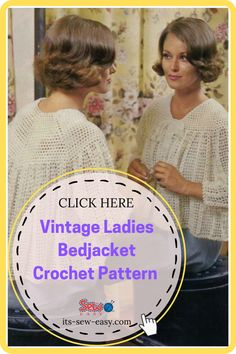 Don't let the name of this bedjacket fool you. It's a fun, vintage jacket that is hard not to wear. It's as fun to wear as it is to make. With a bit of creativity, this pretty little jacket also makes a great layering accessory. You can play around with the colors to give it a bolder and brighter look which is perfect for running around during the day. #vintagepatterns#vintagejacketpatterns#crochetpatterns#crochetvintagejacket Clothing Patterns, Sewing Patterns, Crochet Patterns, Learn To Crochet, Knit Crochet, Crochet Sweaters, Crochet Turtle, Jumper Patterns, Getting Cozy
