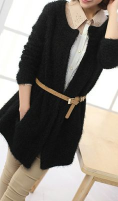Korean candy colored buttonless long mohair sweater black