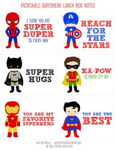 FREE Printable Superhero Lunch Box Notes from www.timeoutwithmo… FREE Printable Superhero Lunch Box Notes from www. Lunchbox Notes For Kids, Kids Lunch For School, Back To School, School Lunches, Box Lunches, School Ideas, Toddler Meals, Kids Meals, Notes Free