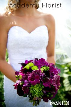 #Purple and #Green #Wedding #Bouquet by @Academy Florist. Purple mini callas, mums, orchids and green berries, spider mums, and poms.