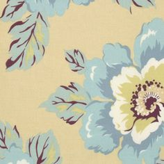 Gipsy Caravan Wild Poppy milk is a vintage Amy Butler dressmaking fabric Giant floral whimsy Smoky blues greens creams and burgundy