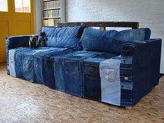 Denim sofa covers, Sofa covers exist in numerous styles, patterns, materials, looks and designs. One very trendy sofa cover material is denim. Denim sofa covers are present in an assortment of shades Denim Couch, Artisanats Denim, Denim Shirts, Raw Denim, Blue Denim, Denim Furniture, Denim Decor, Couch Covers, Slipcovers